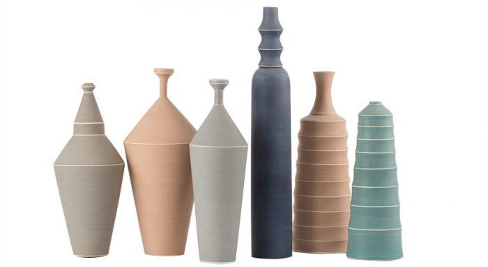 左からフラワーベースφ140 H320¥64,000φ170 H340¥64,000φ140 H320¥64,000φ80 H440¥64,000φ120 H340¥64,000φ110 H300¥64,000以上ceramiche milesi(MOODA SOAME)