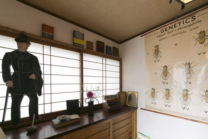 イギリスのバーバーの看板と、ショウジョウバエの進化のポスターが玄関でお出迎え。
