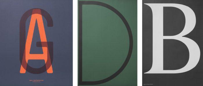 左からIn Love with Typography 1-AG W595 H700mm ¥6,350 ABCD posters-D W700 H1000mm ¥6,350 Berlingske poster-B W594 H841mm ¥6,350 以上Playtype(フォスレイデザイン)
