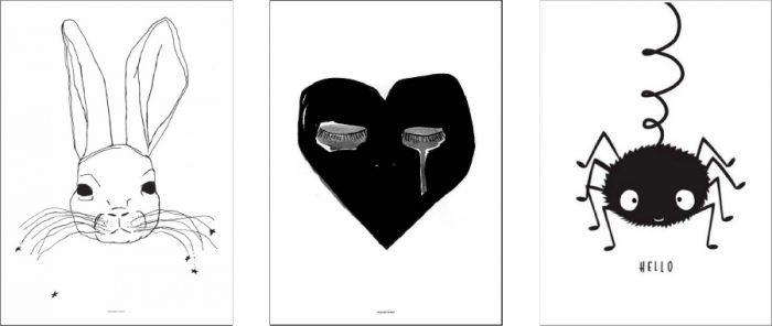 左からLITTLE KING by Pax and Hart W500 H700mm ¥4,800 CRYING HEART by Pax and Hart W500 H700mm ¥4,800 ともにEmma Labattaglia(白黒+One輸入雑貨 milk panda) Spider W500 H700mm ¥2,200 A little Lovely Company(白黒+One輸入雑貨 milkpanda)