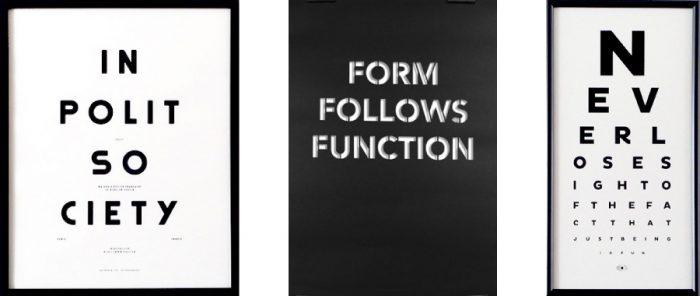 左からMoodpaper / In Polit Society(フレーム付) W420 H520mm ¥16,000 POLIT(ナップフォード・ポスター・マーケット) FORM FOLLOWS FUNCTION W500 H700mm ¥4,700 cinqpoitns(CAST JAPAN) Fun Eye Chart(フレーム付) W258 H498mm ¥15,000 The Lepolas(ナップフォード・ポスター・マーケット)