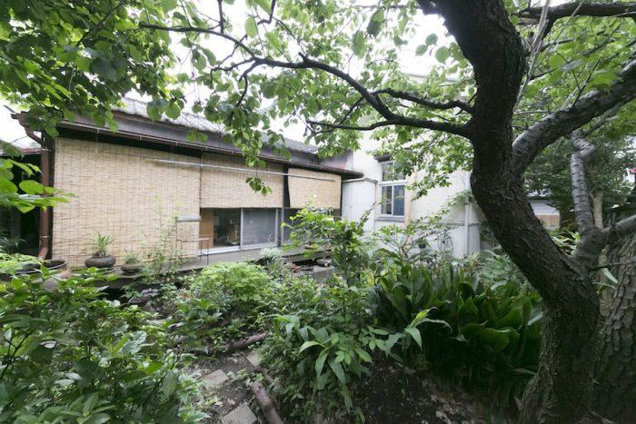 木陰が涼を感じさせてくれる庭。コンポストも設置し、生ゴミの再生に努めている。