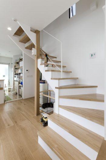 2階へと至る階段。木の踏面が空間に柔らかい印象を与えている。