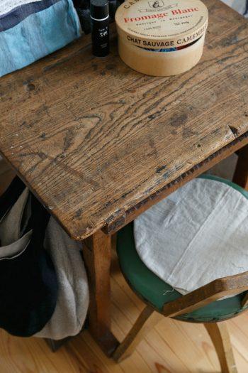 壁際に置かれた味わい深い机は、かつて小学校で使われていたもの。縫い物をするときなどに使っている。