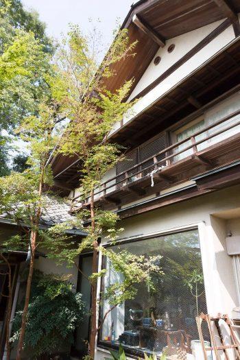 昔ながらの風情を残す、切妻屋根の家。大きな窓ガラスの向こうはリビングダイニング。