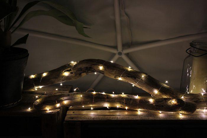 LEDで熱を持たないので植物に巻きつけることができる。