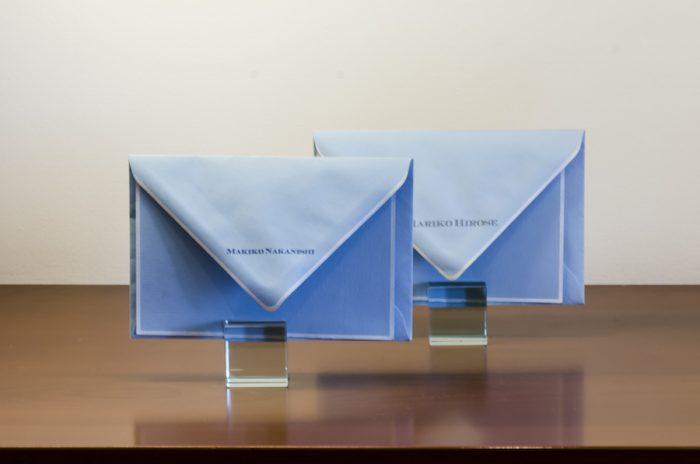 名入れした封筒の例。封筒30枚にオフセットで名前を入れた場合は16,000円弱。納期は約1ヶ月ほど。
