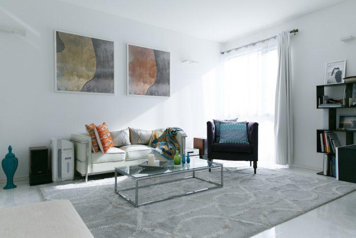 リビングのインテリアは、絵画やファブリックの色をアクセントに。「インテリアのイメージはニューヨークにある家です」。