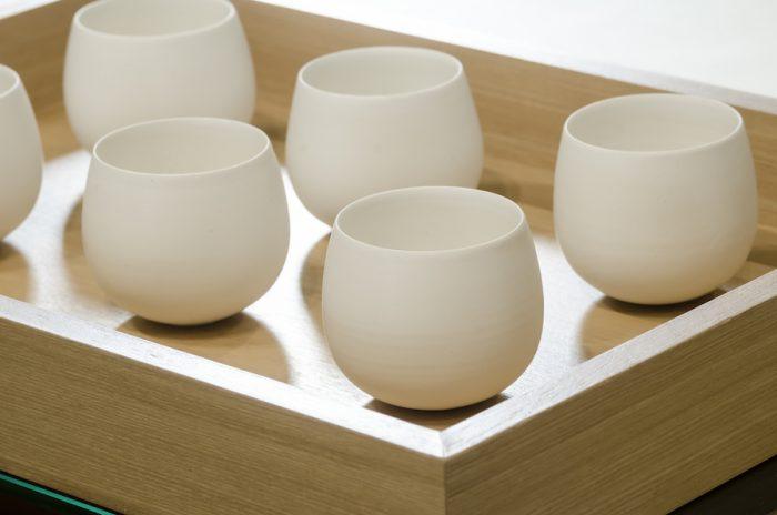 1煎目で使用されている湯飲み。茶が滞留するよう、卵のような形で作られており、旨味を存分に味わうことができる。