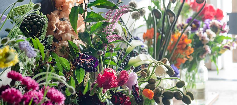 店に入ってすぐに飛び込んでくる色とりどりの花たち。