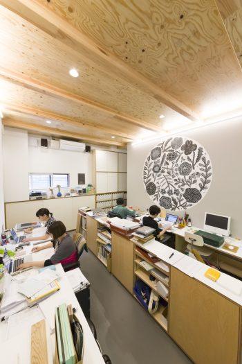 ワークスペースの壁には鹿児島睦さんのドローイング。この壁の後ろは素材見本などのストックヤードになっている。
