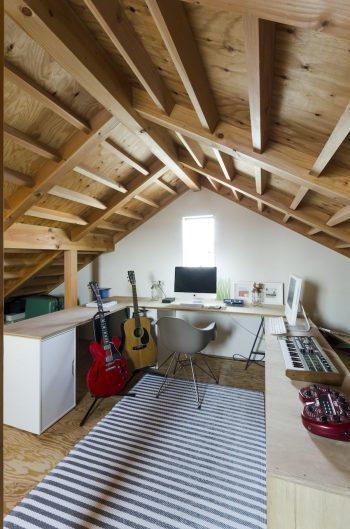 PCを使用したり楽器を弾いたりする鈴木さんのためのスペース。手前のギターはギブソンのES-335。