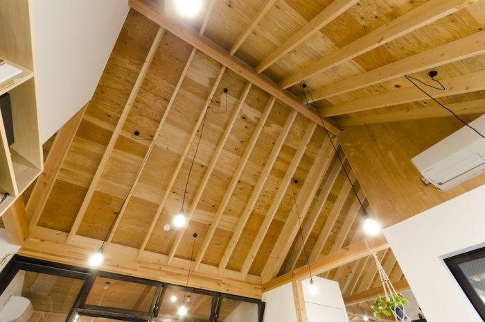 三角屋根の高い天井がとても気持ちいい。伸びやかな垂木がダイナミックな表情を作っている。