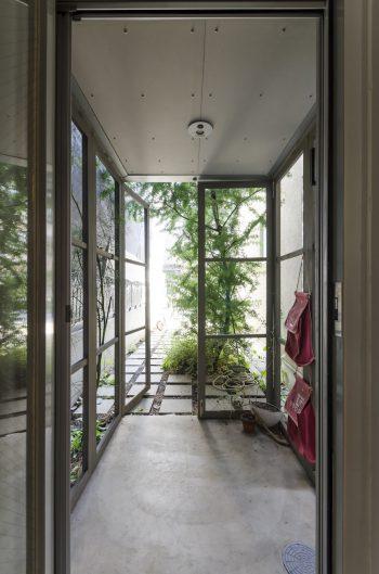 玄関の前にミモザの木が立つ。玄関はシェアオフィスの人たちと共用。