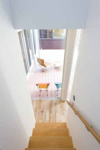屋内の階段から中庭を見る。リビングや廊下が全面ガラス張りでゆるやかにつながっている。
