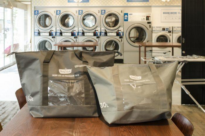 洗濯代行専用のバッグ。30L 1,500円、50L 2,200円。
