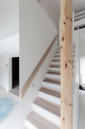 階段の下は収納スペース。階段の向こう側に寝室がある。