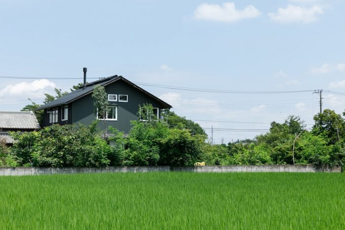 田んぼの風景の中に建つ山崎邸。