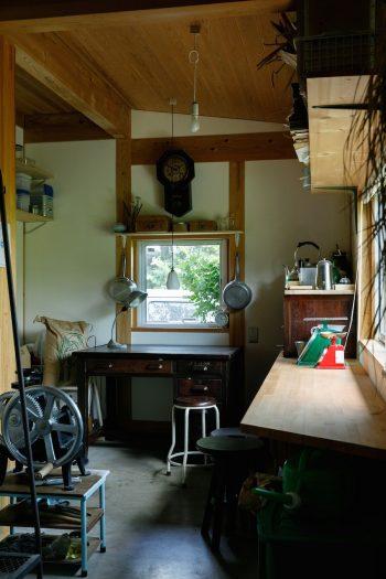 米の精米や製粉、袋詰めなどをする作業部屋。古い机や小引き出しなどもうまく使っている。