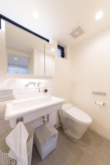 「無骨なタイプが好き」という奥さまが洗面台にセレクトしたのは、実験用シンク。