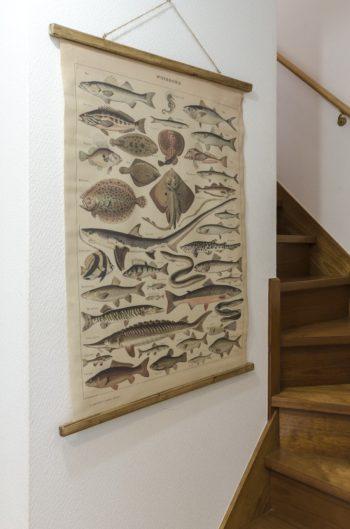 階段には魚のタペストリー。こちらも同じ雑貨屋さんで購入。