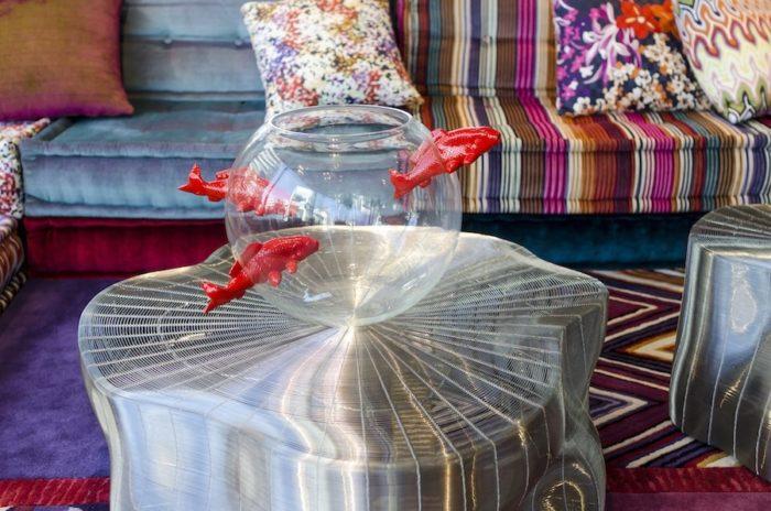 躍動的な魚のモチーフが印象的なボウルは、ガラス作家のバネッサ・シトラーニの作品。
