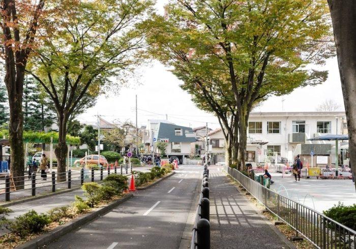 目の前の公園を貫く道路の真正面に建つ入江邸。緑の大きな屋根が人目を引く。