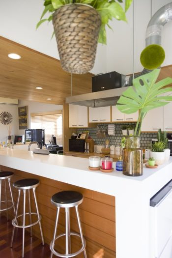 開口部からの光に満ちるキッチン。至る所に飾られたグリーンが心を和ませる。