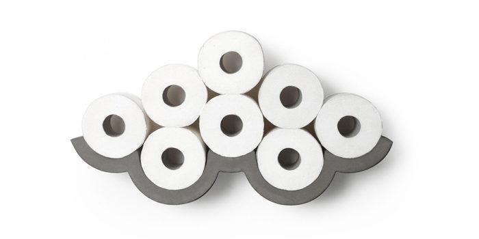 クラウドコンクリートトイレットペーパーホルダー Sサイズ : W550 H120 D100m ¥15,700 Lサイズ : W740 H170 D100m ¥24,000 ともにLyon Beton (Generate Design)