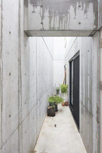 吹き抜けの中庭風の空間があることによって、光が室内に取り込まれる。
