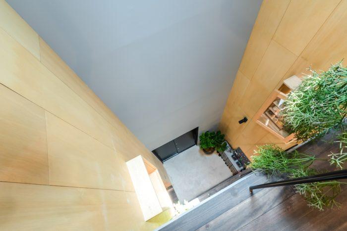 3階から吹抜けを見下ろす。壁面はラワン材をずらして張っているために動きの感じられるデザインになっている。