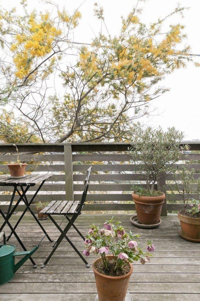 板張りのバルコニーは奥行きも十分。1階庭に植えられた樹々のほか、鉢植えのハーブやバラが彩を添える。