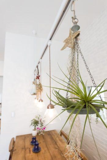 ハンギングプランターなどを使用してカフェ風にグリーンを効かせている。