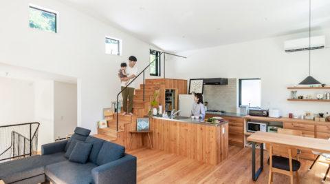 ロッジをイメージした斜め屋根シンプルだけど変化のある楽しい家