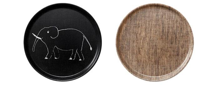 左から リネンキッズトレイ (エレファント ブラック) φ240 H14mm ¥1,950 リネンコーティングトレイ円形 (ナチュラル)  φ240 H14mm ¥1,800 ともにfog linen work
