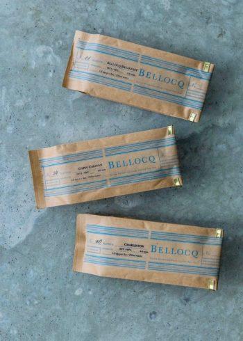 上から NO.01 BELLOCQ BREAKFAST  86g  ¥1,900 NO.40 CHARLESTON  86g  ¥2,100 NO.54 GYPSY CARAVAN 100g  ¥2,100 以上BELLOCQ(H.P.DECO)