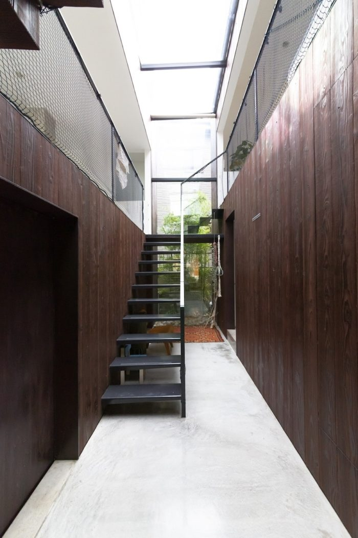 玄関からモルタルの土間のような空間がつながる。トップライトから明るい日が差し込む。階段はスチールでシンプルな片持ちに。