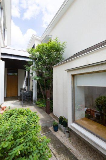 小さな中庭を囲むように建つ増築部分。凹凸のある外観がユニーク。