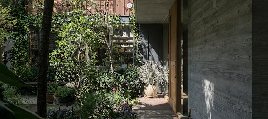 2世帯住宅に事務所を併設緑豊かな中庭を通して家族の気配を感じる