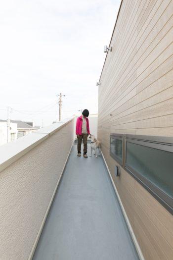 2階からルーフテラスを結ぶスロープ。壁を高めにすることで、近隣から大型犬の姿が見えないように配慮した。