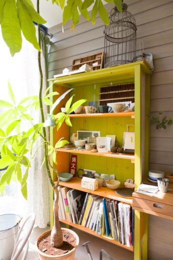 壁の一部は外壁と同じ素材を用いることで、外との連続性を持たせている。緑の棚はDIYで作成したもの。
