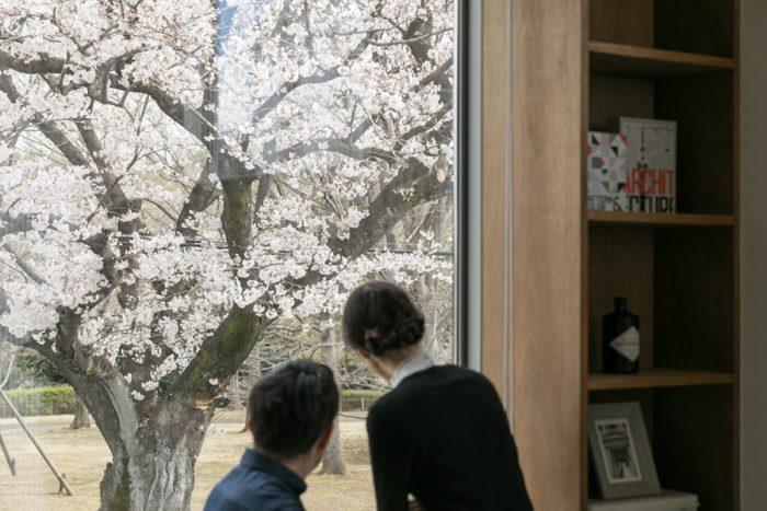 「目の前の桜や公園が、室内と一体になったような感覚なんです」と坂牧さん夫妻。