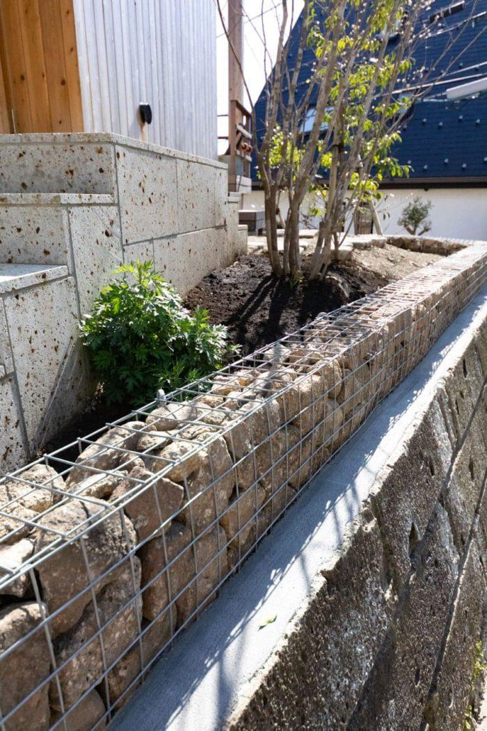 外回りは整備を始めたばかりなのだそう。「先日、蛇カゴを置いてもらいました。これから草木を植えていこうと思っています」