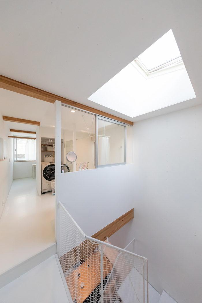 開閉式の天窓。階下に十分な光を届ける。