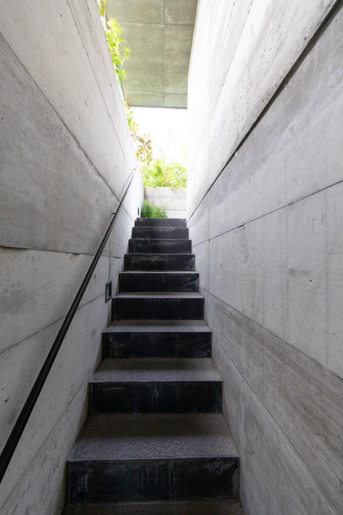 緑に歓迎されながら洗い出しの階段を昇り、2階の居住スペースのあるテラスへ。新関さんの設計らしい物語性のある階段。