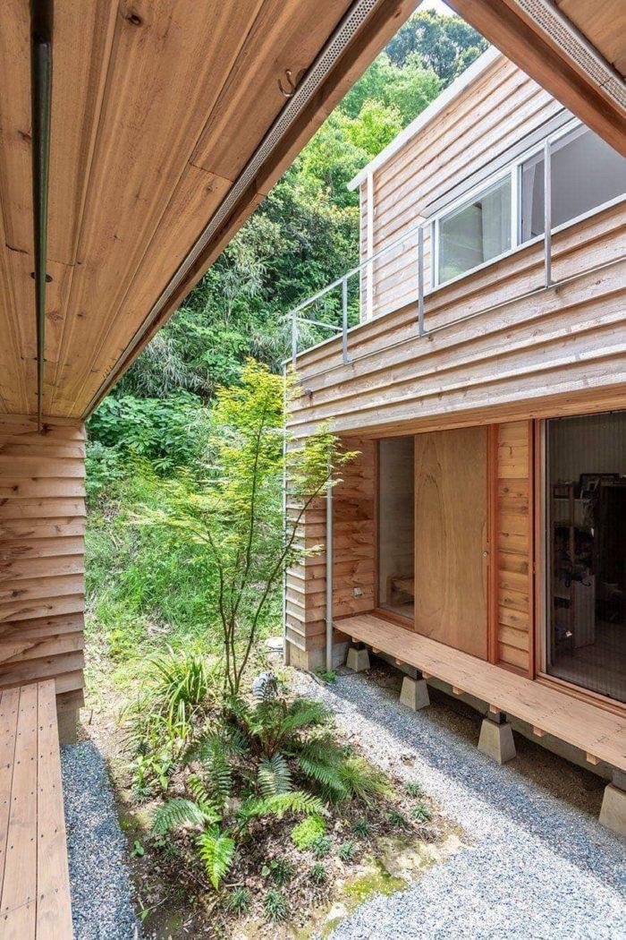 下見板張りは陰をつくって壁の表情を出すためと家の内側だが外部という「ひっくり返った世界」をつくるため。