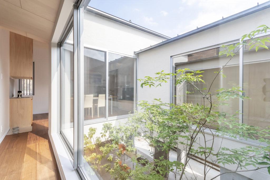 切妻、片流れと異なる屋根の形の集合で伊藤邸はつくられている。
