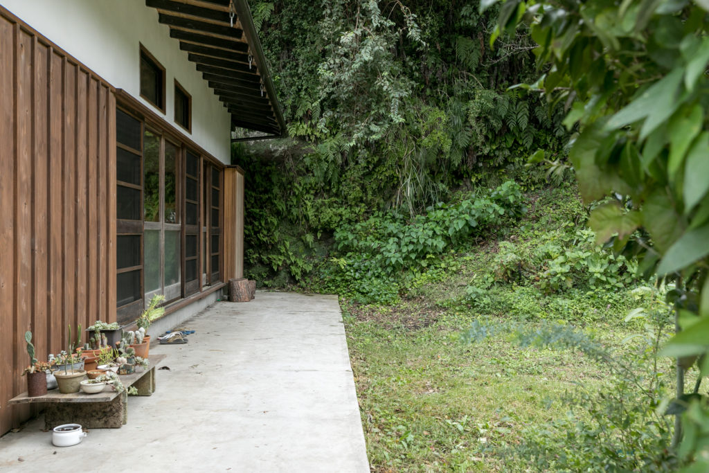 外壁は杉無垢板の押縁仕上げと漆喰左官仕上げに。「吉村順三建築をイメージしました」。屋根はガルバリウム鋼板で葺き替えた。