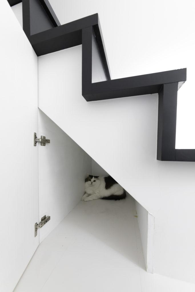 階段下は収納として活用。1階に向かう階段の一角は、まろくん(オス、6歳)のお気に入りスペース。自ら扉を開けて入るのだそう。