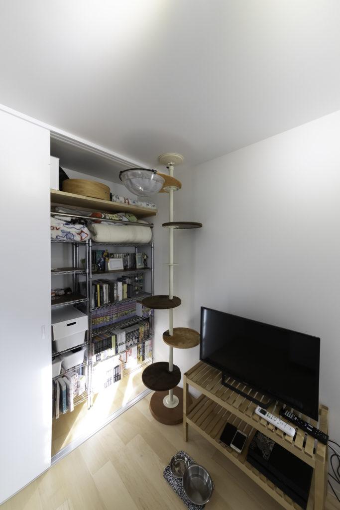 1階の千春さんの部屋。ちょっぴり臆病なくろくん(オス、6歳)は、この部屋のクローゼットに籠り気味。運動能力の高いくろくん用のキャットタワーを設置。
